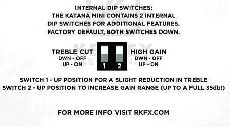 KEELEY Mini Katana Boostに内蔵のディップスイッチを切り替えることで4つのサウンドを得ることが出来ます