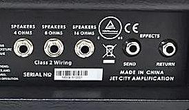 JET CITY AMPLIFICATION Custom 5のバックパネル