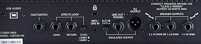 BLACKSTAR HT-20Rのバックパネル