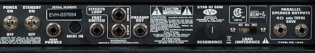 5150 III 50wのバックパネル